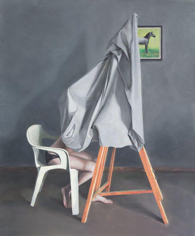 Studio 4 (Aurélie) - Marius Pons de Vincent, huile sur bois, 110 x 90 cm, 2017