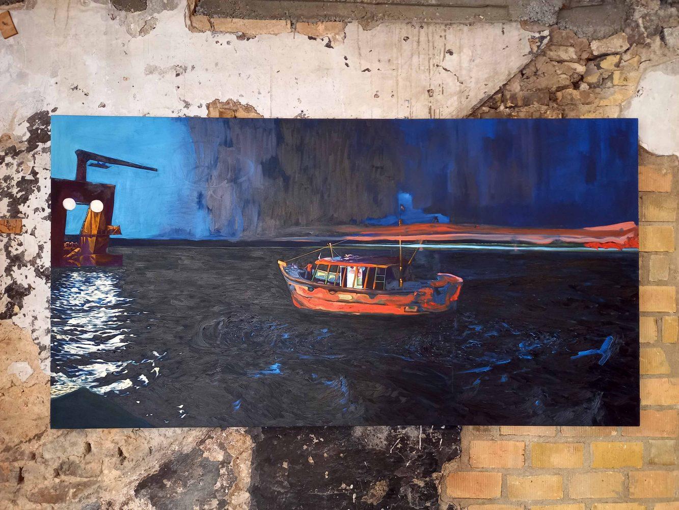 Ariyankuppam – Sarane Mathis – huile sur toile – 135 x 255 cm
