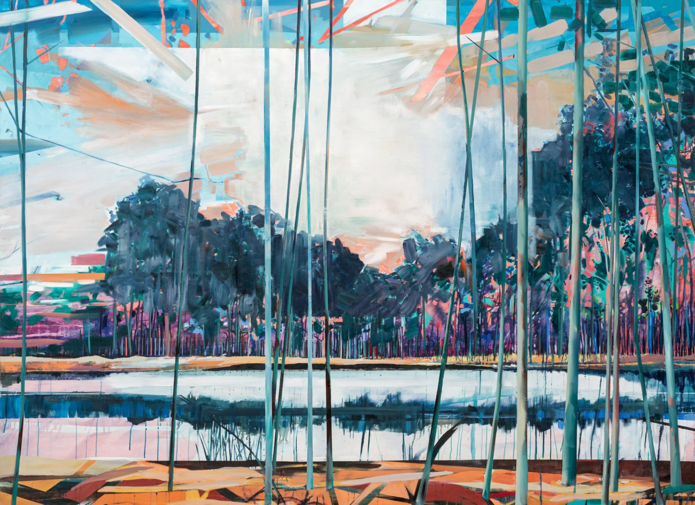 Theresa Möller -Spiegelflächen - 2021- Acryl and oil on canvas - 190x250cm