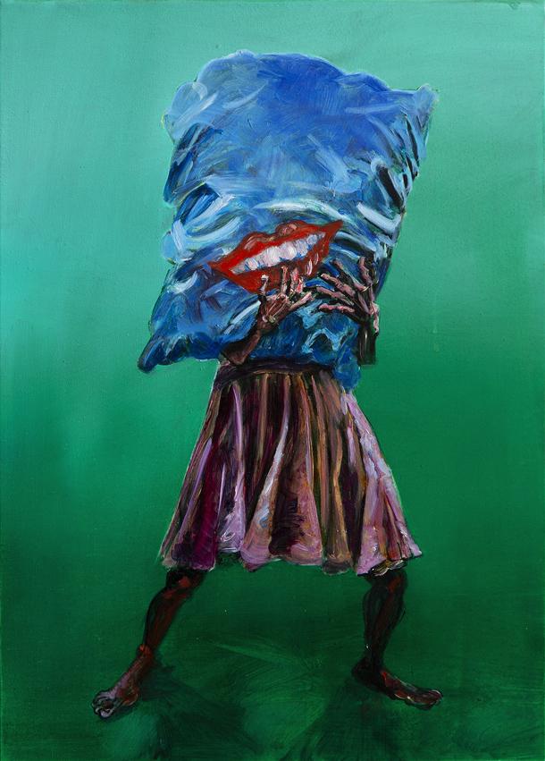 Aurélie de Heinzelin Autoportrait à la grosse bouche rouge, technique mixte sur toile, 46 x 33 cm, 2018